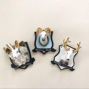 Set of 3 Winter Trophy Mount Ornaments